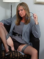 secretary in nylons flashing and toying - Granny Lingerie