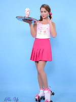 Irresistible waitress Kelli Smith in pink miniskirt and skates delivers a.. - Moms Lingerie