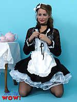 Naughty maid Kelli Smith wearing sexy white lingerie makes her tea serving as.. - Moms Lingerie